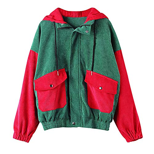 Lonshell Damen Cord Jacken und Mantel Frauen Mode Strickjacke Cardigan Langarm Patchwork Oversize Coat Herbst Winter Windbreaker Outwear