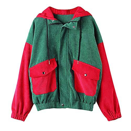 Lonshell Damen Cord Jacken und Mantel Frauen Mode Strickjacke Cardigan Langarm Patchwork Oversize Coat Herbst Winter Windbreaker Outwear