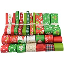 Generic 26pcs/Set Christmas Grosgrain Ribbon for Gift Wrapping Hair Bow DIY Xmas Crafts Decor