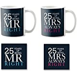 [Sponsored]YaYa Cafe 25th Anniversary Gifts, Mr Right Mrs Always Right Couple Coffee Mug - Set Of 2 With Coasters, For Wedding Anniversary