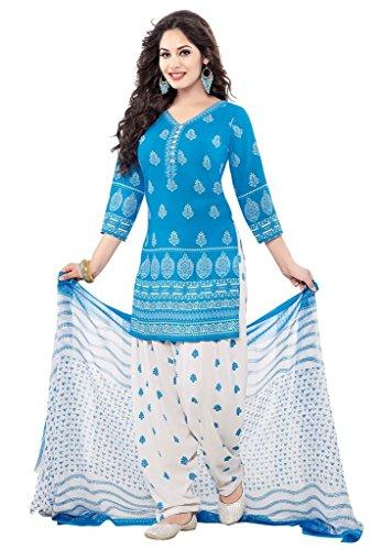 Salwar Studio Women\'s Synthetic Dress Material (OM-0011330_Free Size_Blue & White)