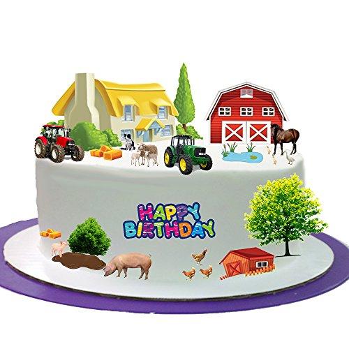 Bauernhof Farm Animal Happy Birthday Ständer bis Szene aus Essbar Wafer Papier ideal für Dekorieren Ihre Geburtstag Dekorationen einfach zu verwenden