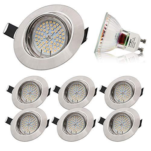 Lengjoy Faretti LED da Incasso per cartongesso,Orientabile con Porti Luce Bianca Fredda 5 W Pari a 60 W 6000 K 600 LM Angolo a Fascio 120 Gradi AC 220-240V (Set da 6 6000K Rotonde Argento)