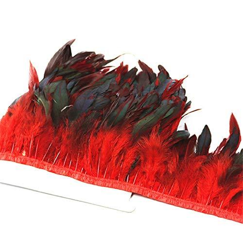 SHFives 5 Meter Huhn Hahn Schwanz Feder Borte Bänder 10-15CM Streifen für Kleid RockKleidung Machen Hochzeitsdekoration, - Machen Feder Schwanz Kostüm