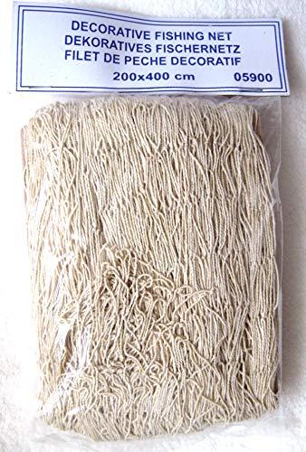 Deko Fischernetz 200x400cm Maschen 4x4cm Beige Baumwolle