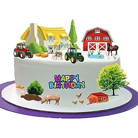 Animales de Granja de Animales de Granja feliz cumpleaños Stand Up escena hecho de papel comestible perfecto para la decoración de tu cumpleaños Cakes- fácil de usar
