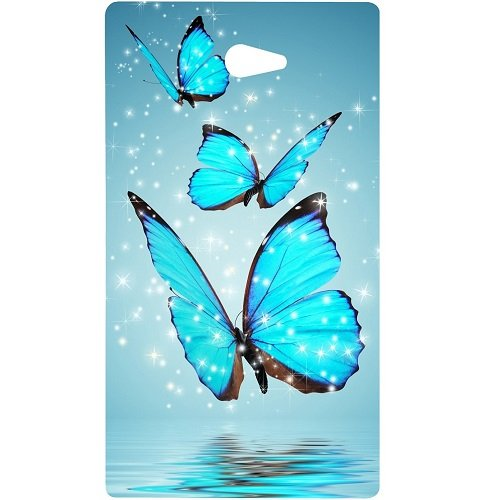 Casotec Flying Butterflies Design Hard Back Case Cover for Sony Xperia M2  available at amazon for Rs.379