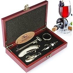 YOBANSA Coffret en bois coffret cadeau accessoires à vin, ouvre-bouteille de vin, bouchon à vin, bec verseur pour vin, anneau de vin et thermomètre