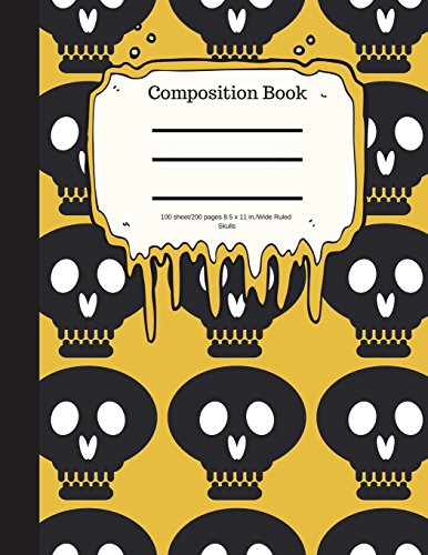 Composition Book 100 sheet/200 pages 8.5 x 11 in.-Wide Ruled- Skulls: Match your style with this cool Halloween theme on a trendy notebook ? Use as a ... x 11 in ? For students, teachers or as a gift por Goddess Book Press