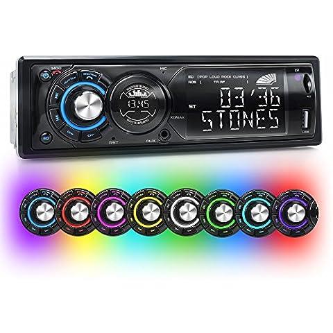 XOMAX XM-RSU225BT Radio de coche / Autoradio con 7 colores ajustables iluminación (azul, rojo, amarillo, morado, rosa, verde, blanco, turquesa) + Bluetooth con función manos libres + conexión USB (hasta 32 GB) y ranura para tarjetas SD (hasta 32 GB) para MP3 AUX IN + DIN uno (1DIN) tamaño de la instalación estándy MP3 WMA + reducida profundidad de montaje + con mando a distancia y marco de
