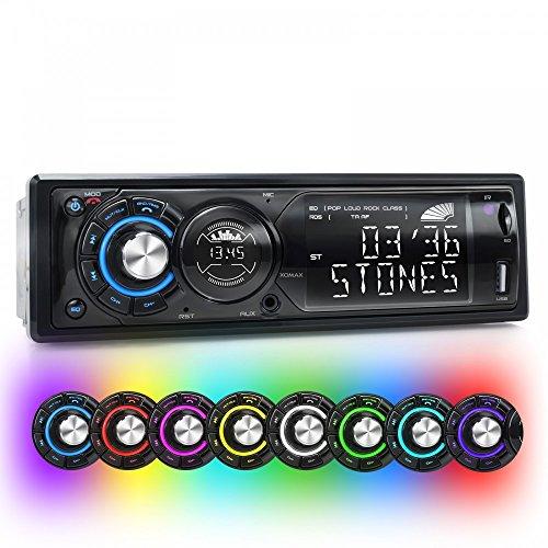 XOMAX XM-RSU225BT Autoradio mit Bluetooth Freisprechfunktion + 7 Beleuchtungsfarben (blau, rot, grün, türkis, violett, gelb, weiß) + Zweites Display für Uhranzeige + USB Anschluss (bis 32 GB) & Micro SD Kartenslot (bis 32 GB) für MP3 und WMA + AUX-IN + Verkürzte Einbautiefe + Single DIN (1 DIN) Standard Einbaugröße + inkl. Einbaurahmen und Fernbedienung