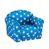 Panana Solid Kids Children's Upholstered Armchairs Girl Boy Bedroom Playroom Seating Chair (Blue Star)