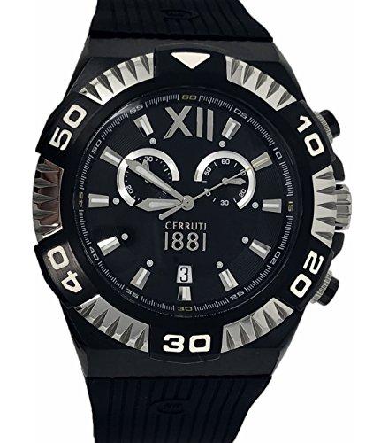 Cerruti 1881Diamant Crwa038F224q Homme montre chronographe 44mm Bracelet en caoutchouc Noir Swiss Made Argenté