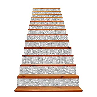 Peel and Stick Stair Riser Sticker Waterproof Removable Tile Backsplash Decals Mosaic Brick Texture Retro Modern Home Decor Stickers Decoration 13Pcs,Gray