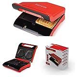 Appareil à croque-monsieur 700W 2disques de Sandwich Maker Revêtement anti-adhésif (Plaques en forme de coquillage, protection contre la surchauffe, Back déporté, lampe de contrôle, orange)