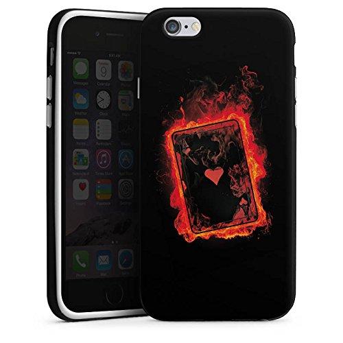 Apple iPhone X Silikon Hülle Case Schutzhülle Herz Ass Karten Silikon Case schwarz / weiß