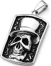 Hombres de acero inoxidable colgante de corazón placa grabado calavera sombrero circo