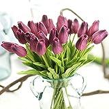 Jun7L Unechte Blumen,Künstliche Deko Blumen Gefälschte Blumen Blumenstrauß Seide Tulpe Wirkliches Berührungsgefühlen, Braut Hochzeitsblumenstrauß für Haus Garten Party 10Pcs Dunkelviolett 32x2.7cm