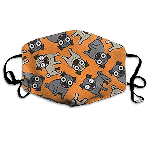Mundmaske, Staubmasken, Grippe-Allergene-Masken Pug-A-Dot (Orange) Anti Pollution Dust Mask Washable and Reusable Face Mouth Mask Protection from Flu Germ Pollen Allergy Respirator Mask -