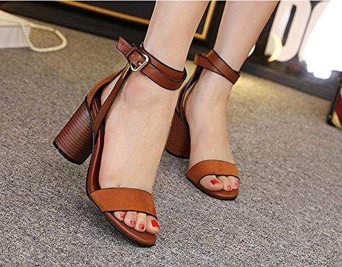 GS~LY Scarpe tacco alto donna Sandali aprire grezzo di punta con fibbia, sandali Black