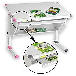 CARO-Möbel Kinderschreibtisch Philipp mit Schublade Schülerschreibtisch höhenverstellbar, Wechselkappen rosa pink und grau für Jungs Mädchen