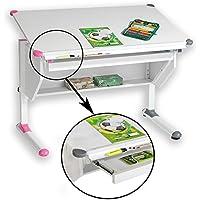 CARO-Möbel Kinderschreibtisch Philipp mit Schublade Schülerschreibtisch höhenverstellbar, Wechselkappen rosa pink und grau für Jungs Mädchen preisvergleich bei kinderzimmerdekopreise.eu