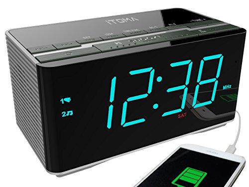iTOMA Radiowecker mit kabellosen Bluetooth-Stereo-Lautsprechern, Digital-FM-Radio, Dual-Alarm mit Schlummerfunktion, Auto-Dimmer, Handy-USB-Ladefunktion (CKS3501BT)