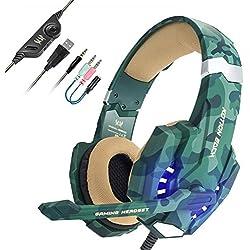Auriculares con Microfono,[Regalo de San Valentín] EasySMX Auriculares Estéreo para Nueva Xbox One Gaming Headset para PS4 con Control de Volumen Compatible con Laptop PC y Smartphone(Camuflaje)