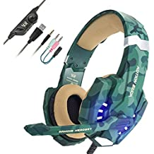 Auriculares con Microfono, EasySMX Auriculares Estéreo para Nueva Xbox One Gaming Headset para PS4 con Control de Volumen Compatible con Laptop PC y Smartphone(Camuflaje)