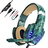 PS4 Gaming Headset, EasySMX LED-Beleuchtung Noise Cancellation Stereo Gaming Headset mit Mikrofon 3,5mm und in-Line-Controller, Kompatibel mit Neue Xbox One, PS4, Mobile Phones, Laptop Tablet und PC