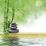 Artland Qualitätsbilder I Glasbilder Deko Glas Bilder 20 x 20 cm Wellness Zen Stein Foto Grün H8GL Spa Konzept Zen Basaltsteine