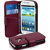 Samsung Galaxy S3 MINI Hülle in LILA von Cadorabo - Handy-Hülle mit Karten-Fach und Standfunktion für Galaxy S3 MINI Case Cover Schutz-hülle Etui Tasche Book Klapp Style in BORDEAUX-LILA