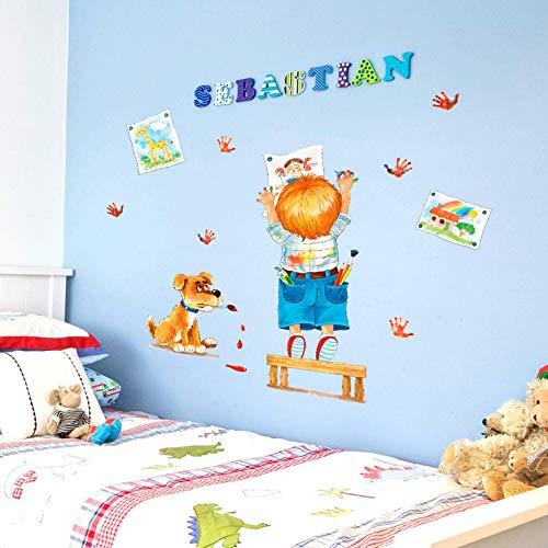 (Wandaufkleber Kreatives Kind Zeichnung Doodle Cartoon Bilder Handprints Hund Kinderzimmer Schlafzimmer Klassenzimmer Dekoration Diy Aufkleber)