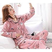 WYIKAI Pijamas Suelta La Camiseta Mujer Pijama Gruesa Franela Establece 2Pedazo Pijama Longsleeved Home,M