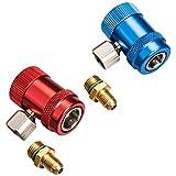 """Réglable AC R134A coupleur rapide connecteur adaptateur haut bas 1/4"""" SAE HVAC"""