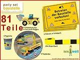 81-teiliges Party-Set * Baustelle / Bauarbeiter * für Kinderparty // Bauarbeiter Bagger Baumeister Kindergeburtstag Geburtstag Party Jungs Bau Bob