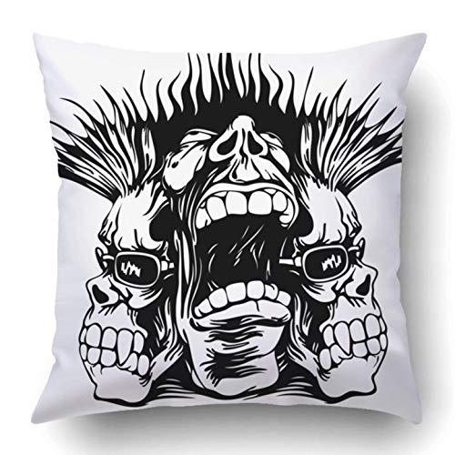 Throw Pillow Covers Black Tattoo Grunge Design Punk Musician Rock Skull Metal Hard Revolution Halloween Trash Polyester 18 X 18 inch Square Hidden Zipper Decorative Pillowcase (Halloween Hard Rock)