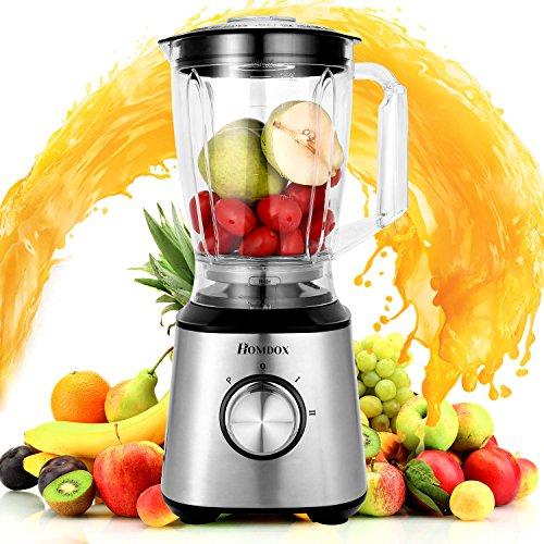 Homdox Standmixer Smoothie Blender, 2 Geschwindigkeitsstufen, Blender Cup & Grinder, Blender Machine Multimixer, für Blending Schleifen Obst Gemüse Kaffee 800 Watt,1,5 Liter Elektrische Lebensmittel-schleifer Und Mühlen