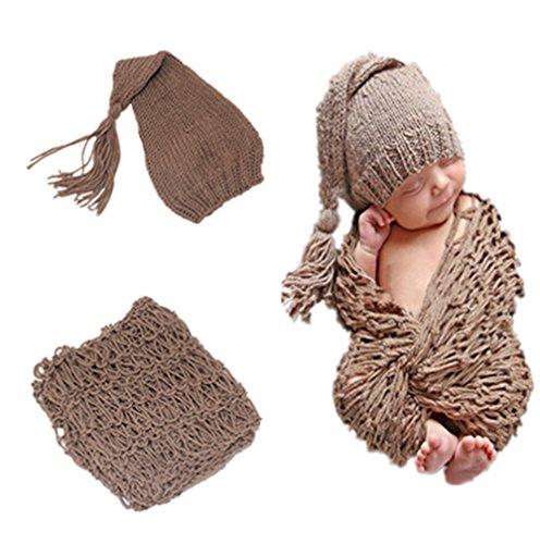Amorar Neugeborenes Baby Hut und Wrap Fotografie Foto Requisiten handgemachte Weich DIY Matte,EINWEG Verpackung -