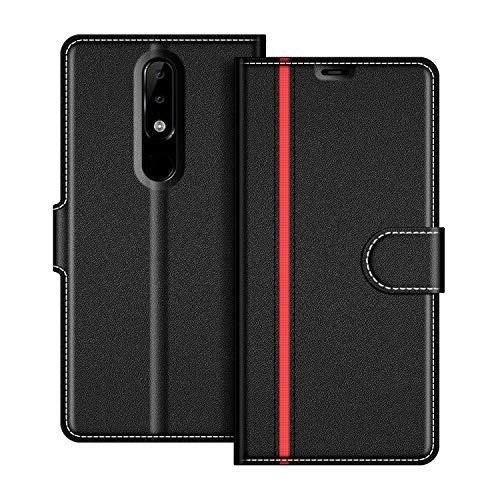 COODIO Nokia 5.1 Plus Hülle Leder, Nokia 5.1 Plus Lederhülle Ledertasche Wallet Handyhülle Tasche Schutzhülle mit Magnetverschluss/Kartenfächer für Nokia 5.1 Plus 2018, Schwarz/Rot