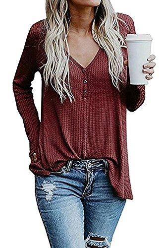 Genhoo Damen Langarm Shirts V-Ausschnitt Henley Shirt Casual Oberteile Oversized Tops Herbst Pullover Stretch Lose Jumper Sweater Stretch-damen Pullover