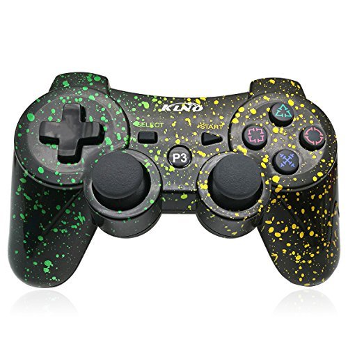 PS3 Controller Wireless Dualshock Joystick – klno Bluetooth Gamepad-Achsen-, Super Power, USB Ladegerät, 6-Achsen, Dualshock3, 1 Kabel Spot Art Color