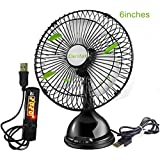 Lucstar Cute Personal 6 Inch Table Fan With USB Switch Timer, Quiet Powerful Wind, Working Time Controller For Bedroom Night Sleep, Office Decor, PC Cooler, Classic Black