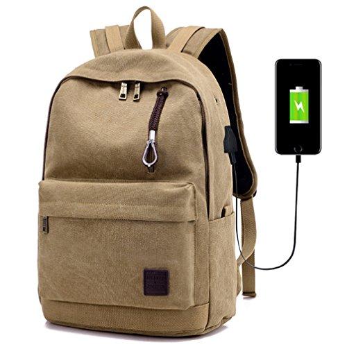 Bopopo Laptop Rucksack Schule Lässige Reise Daypack mit USB Ladeanschluss 15,6 Zoll Tasche Grau Khaki