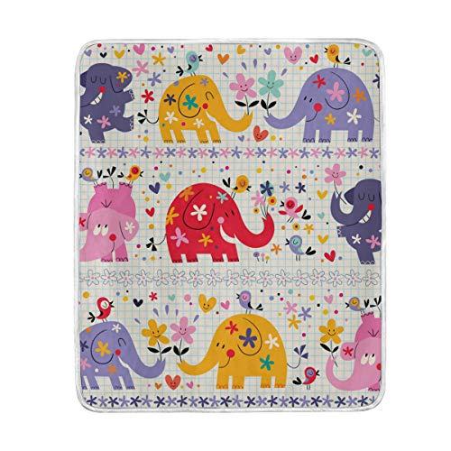 Ahomy - Manta Suave y cálida con diseño de Elefantes y pájaros,...