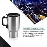 RISINGMED® 450 ml Auto Edelstahl 12 V Stecker Isolierbecher Kaffeebecher Auto Heizung Isolierte Beheizte Thermosbecher