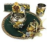 Floret Jewellery Karwa Chauth Puja Flower Thali Set/Pujan Plate With Beautiful Lota/Kalash, Chalni And Glass