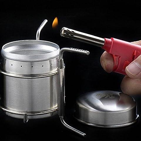leryjoy (TM) UK portatile Mini Ultra-leggero Spirito Bruciatore Alcool Fornello da campeggio in acciaio inox Forno con supporto B-1