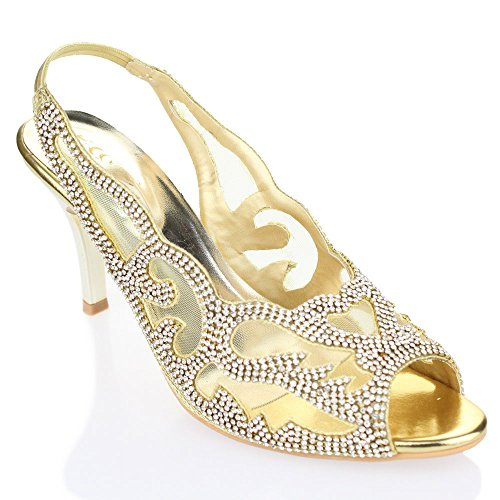 Aarz signore delle donne del partito di sera di nozze tacco medio peep toe Diamante sandali da sposa Formato dei pattini (Oro, Argento, Marrone)