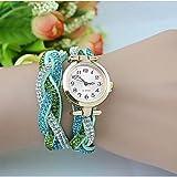 FENKOO Damenmode Kristall Leder Wickel Armbanduhr (farbig Sortiert)